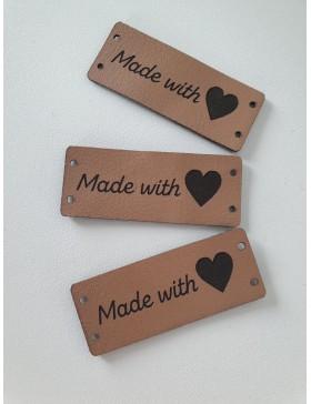"3 Handmade DIY Label ""Made with Love"" Herz camel braun längs"