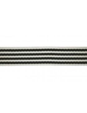 1 Meter Gurtband schwarz creme weiß Streifen gestreift 40 mm breit