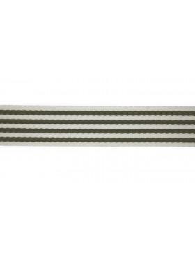 1 Meter Gurtband oliv khaki creme weiß Streifen gestreift 40 mm breit