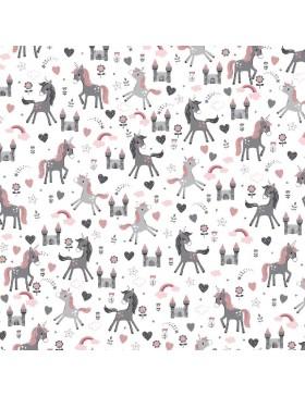 Baumwollstoff Einhorn Einhörner weiß grau rosa