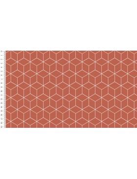 Baumwoll Webware Cube roost orange Würfel grafische Muster