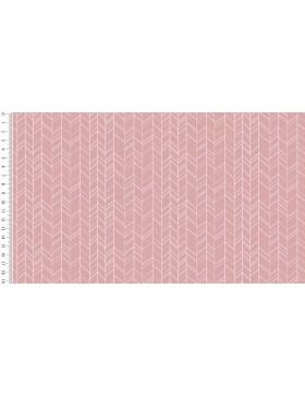 Baumwoll Webware ZigZag rosa rose Zickzack Chevron grafische Muster