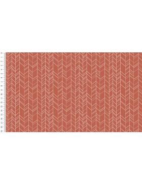 Baumwoll Webware ZigZag rost orange Zickzack Chevron grafische Muster