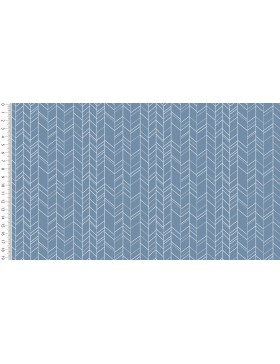 Baumwoll Webware ZigZag jeansblau blau Zickzack Chevron grafische...