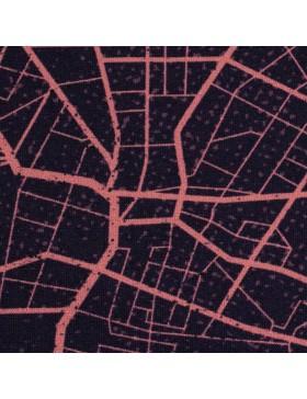 Panel French Terry Sweat Urban Network Straßenkarte dunkelblau...