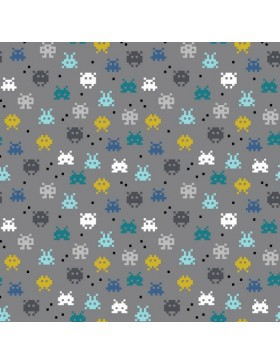 Baumwoll Jersey Pixel Game petrol türkis senf auf grau
