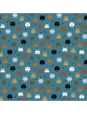 Baumwoll Jersey Pixel Game rost senf auf jeansblau