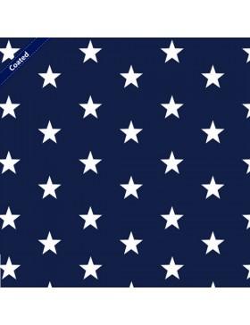 Beschichtete Baumwolle Stars Stern Sterne dunkelblau weiß