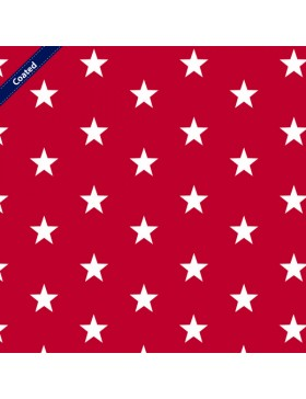 Beschichtete Baumwolle Stars Stern Sterne rot weiß