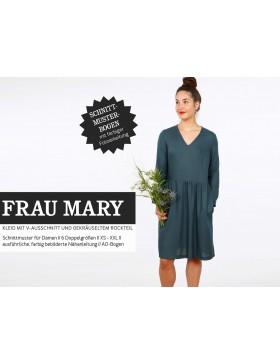 Schnittmuster Frau Mary Schnittreif Kleid mit V-Ausschnitt