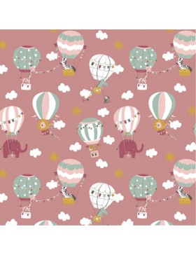 Baumwoll Webware Luftballons Elefanten Fly with me rosa altrosa