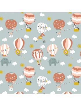 Baumwoll Webware Luftballons Elefanten Fly with me mint mintgrün
