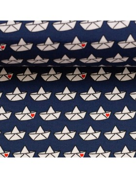 Baumwolle Webware Love Boat Faltboot dunkelblau Cherry Picking