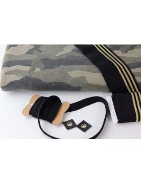 DIY Stoffpaket Sweater Hoodie Camouflage Sweatstoff khaki inkl...