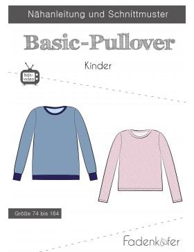Papierschnittmuster Basic Pullover Kinder Fadenkäfer