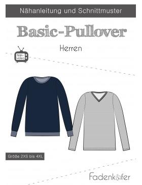 Papierschnittmuster Basic Pullover Herren Fadenkäfer