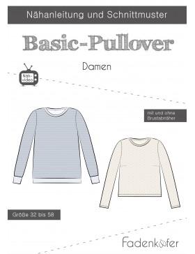 Papierschnittmuster Basic Pullover Damen Fadenkäfer
