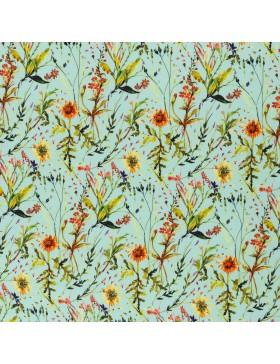 Viskose Webware Blumenwiese Blumen auf türkis mint Frieda Swafing