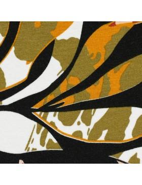 Viskose Jersey Blätter khaki oliv orange rose Selina Swafing