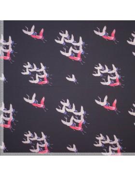 Baumwoll Jersey Kranich Kraniche auf dunkelblau Moos