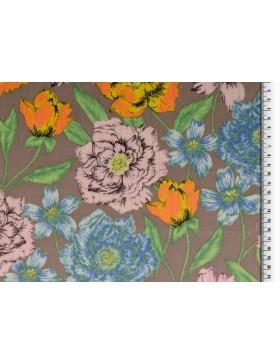 Baumwoll Webware Matallic Fäden taupe braun Blumen rose hellblau...