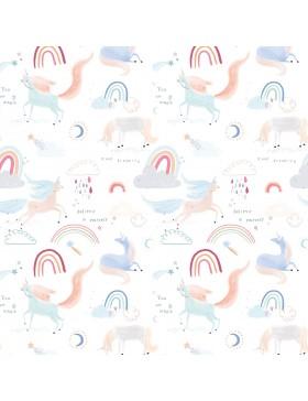 Baumwolle Webware Unicorn is in the air Einhorn Katia Fabrics