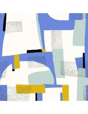 Canvas Gold Abstract aqua blau grafische Muster Katia Fabrics