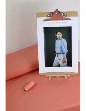 DIY Paket Mabel French Terry apricot koralle Pullover mit Rüschen...