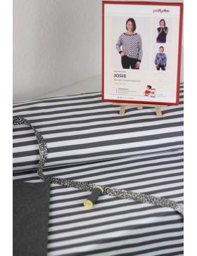 DIY Stoffpaket Josie Fledermausshirt Pattydoo grau weiß gestreift...