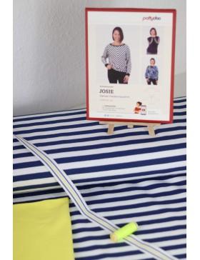 DIY Stoffpaket Josie Fledermausshirt Pattydoo dunkelblau weiß...