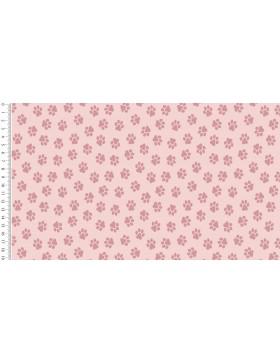 Baumwolle Webware Dog Paw rosa rose Tatzen Pfoten