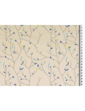 Musselin Double Gauze zarte Blumenranken blau türkis auf creme