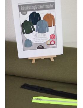 DIY Stoffpaket Troyer khaki oliv melange meliert Padina Kibadoo
