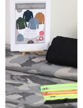 DIY Stoffpaket Troyer Vintage Camouflage grau Padina Kibadoo