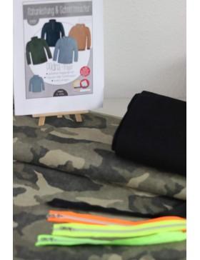 DIY Stoffpaket Troyer Vintage Camouflage khaki oliv Padina Kibadoo