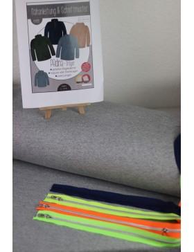 DIY Stoffpaket Troyer Stricksweat blau meliert melange Padina Kibadoo