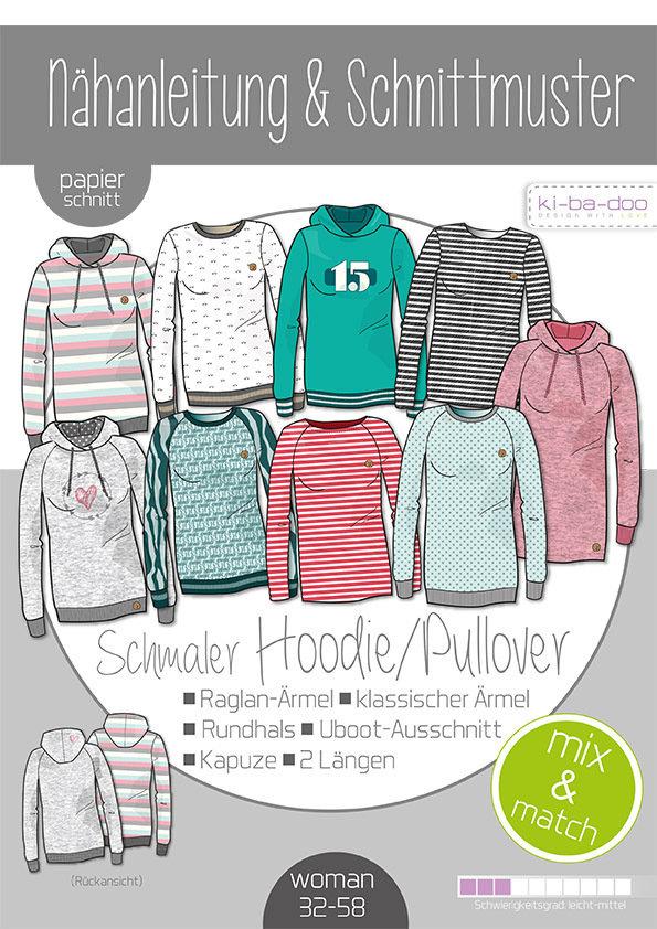 on sale 55500 98b1b Schnittmuster schmaler Hoodie Pullover Damen Kibadoo Mix and Match