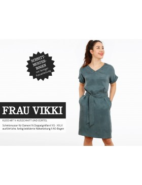 Schnittmuster Frau Vikki Schnittreif Kleid mit V-Ausschnitt