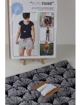 DIY Paket Shorts kurze Hose Bermuda Paperbag schwarz weiß Gingko...