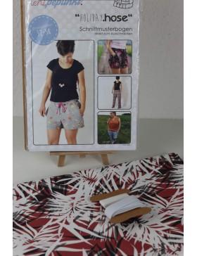 DIY Paket Shorts kurze Hose Bermuda Paperbag koralle schwarz weiß...