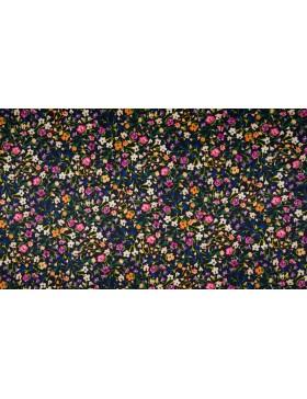 Baumwolle Satin Druck Streublümchen bunt auf schwarz