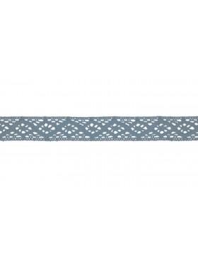 Baumwoll Spitze Häkelspitze staubblau hellblau 20 mm breit