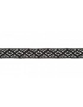 Baumwoll Spitze Häkelspitze schwarz 20 mm breit