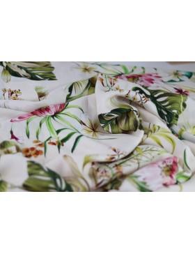 Viskose Webware Blumen Blätter auf creme weiß bunt Ecovero