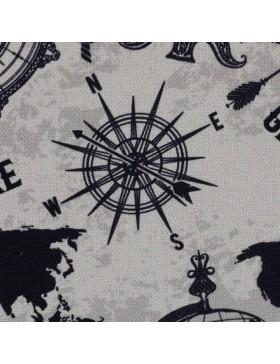Canvas Taschenstoff Globus Weltkarte Kompass Windrose creme grau...