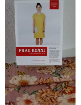 DIY Paket rose altrosa Blumen Kleid Frau Konni Schnittreif Gr. XS-L...