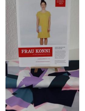 DIY Paket grafische Muster rosa flieder blau weiß Kleid Frau Konni...