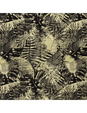 Viskose Krepp Webware Blätter schwarz khaki oliv