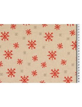 Deko Canvas Stoff beige rot Leinenoptik Eiskristalle Winter...