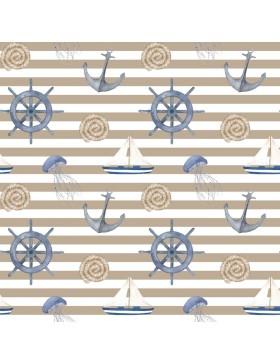Deko Canvas Taschenstoff Anker maritim Streifen beige sand weiß